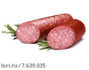 Купить «Smoked sausage salami isolated on white background cutout», фото № 7639035, снято 26 февраля 2015 г. (c) Natalja Stotika / Фотобанк Лори