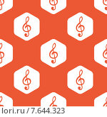 Купить «Orange hexagon music pattern», иллюстрация № 7644323 (c) Иван Рябоконь / Фотобанк Лори