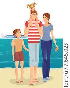 Купить «Счастливая семья на пляже», иллюстрация № 7645023 (c) Рада Коваленко / Фотобанк Лори