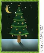 Рождественская открытка с елью. Стоковая иллюстрация, иллюстратор Рада Коваленко / Фотобанк Лори