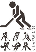 Зимние виды спорта, хоккей. Стоковая иллюстрация, иллюстратор Рада Коваленко / Фотобанк Лори