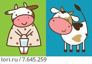 Две веселые коровы. Стоковая иллюстрация, иллюстратор Рада Коваленко / Фотобанк Лори