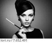 Купить «Portrait of beautiful sensual woman with elegant hairstyle», фото № 7652491, снято 19 октября 2014 г. (c) Ingram Publishing / Фотобанк Лори