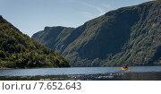 Купить «Kayaking in Gros Morne National Park, Trout River Pond, Newfoundland and Labrador, Canada», фото № 7652643, снято 26 августа 2013 г. (c) Ingram Publishing / Фотобанк Лори