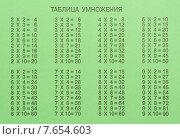 Купить «Зеленая школьная тетрадь с таблицей умножения», фото № 7654603, снято 2 июля 2015 г. (c) Рамиль Гибадуллин / Фотобанк Лори