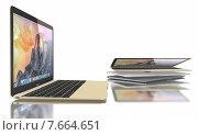 Новый серебряный, золотой и серый MacBook Air. Редакционная иллюстрация, иллюстратор Sanda Stanca / Фотобанк Лори