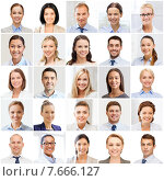 Купить «collage with many business people portraits», фото № 7666127, снято 17 сентября 2019 г. (c) Syda Productions / Фотобанк Лори