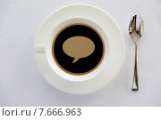 Купить «cup of black coffee with text bubble and spoon», фото № 7666963, снято 21 февраля 2015 г. (c) Syda Productions / Фотобанк Лори