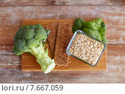 close up of food rich in fiber on wooden table. Стоковое фото, фотограф Syda Productions / Фотобанк Лори
