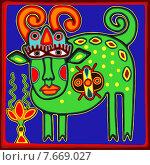 Традиционный украинский этнический рисунок коровы в стиле karakoko. Стоковая иллюстрация, иллюстратор Олеся Каракоця / Фотобанк Лори