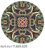 Купить «Декоративный дизайн шаблона круглого блюда с орнаментом», иллюстрация № 7669635 (c) Олеся Каракоця / Фотобанк Лори
