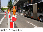 Купить «Запрещающий дорожный знак», фото № 7673495, снято 4 июля 2015 г. (c) Эдуард Цветков / Фотобанк Лори