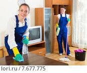 Купить «Cheerful women in uniform doing housework», фото № 7677775, снято 19 октября 2018 г. (c) Яков Филимонов / Фотобанк Лори