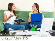 Teens preparing for school. Стоковое фото, фотограф Яков Филимонов / Фотобанк Лори