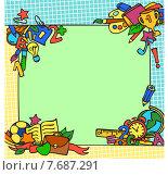 Рамка на школьную тематику. Стоковая иллюстрация, иллюстратор Анастасия Ульянова / Фотобанк Лори
