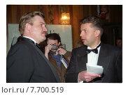 Купить «Евгений Киселев и Леонид Парфенов», фото № 7700519, снято 25 февраля 2020 г. (c) Борис Кавашкин / Фотобанк Лори