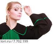 Купить «Young female lawyer attorney wearing classic polish black green gown», фото № 7702199, снято 26 мая 2020 г. (c) PantherMedia / Фотобанк Лори