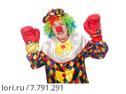 Clown with boxing gloves isolated on white. Стоковое фото, фотограф Elnur / Фотобанк Лори