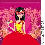 Купить «sexy woman venetian mask red», иллюстрация № 7817751 (c) PantherMedia / Фотобанк Лори
