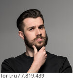 Купить «Fashion portrait of young man in black», фото № 7819439, снято 21 июля 2018 г. (c) PantherMedia / Фотобанк Лори