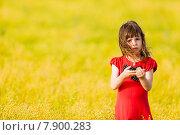 Девочка в красном платье на поле. Стоковое фото, фотограф Оксюта Виктор / Фотобанк Лори