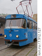 Купить «Трамвай Tatra Т3, перекрашенный под единый московский стандарт в голубой цвет», фото № 7912127, снято 20 июля 2015 г. (c) Павел Москаленко / Фотобанк Лори