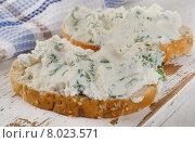 Купить «Healthy sandwiches for breakfast on a white wooden board.», фото № 8023571, снято 17 июня 2015 г. (c) Tatjana Baibakova / Фотобанк Лори