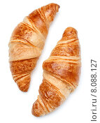 Купить «Croissant or crescent roll isolated on white background cutout», фото № 8088127, снято 17 марта 2015 г. (c) Natalja Stotika / Фотобанк Лори