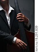 Купить «man music bass jazz contrabass», фото № 8291839, снято 21 января 2020 г. (c) PantherMedia / Фотобанк Лори