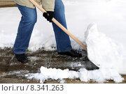 Купить «snow shovel woman work worker», фото № 8341263, снято 26 марта 2019 г. (c) PantherMedia / Фотобанк Лори