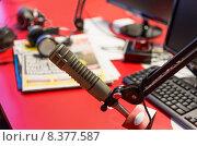 Купить «microphone at recording studio or radio station», фото № 8377587, снято 8 апреля 2015 г. (c) Syda Productions / Фотобанк Лори