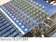 Купить «control panel at recording studio or radio station», фото № 8377591, снято 8 апреля 2015 г. (c) Syda Productions / Фотобанк Лори