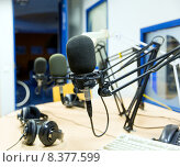 Купить «microphone at recording studio or radio station», фото № 8377599, снято 8 апреля 2015 г. (c) Syda Productions / Фотобанк Лори