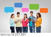 Купить «group of teenagers with smartphones and tablet pc», фото № 8377951, снято 22 июня 2014 г. (c) Syda Productions / Фотобанк Лори