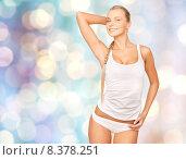 Купить «beautiful woman in underwear over blue lights», фото № 8378251, снято 8 мая 2010 г. (c) Syda Productions / Фотобанк Лори
