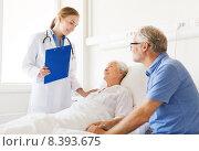 Купить «senior woman and doctor with clipboard at hospital», фото № 8393675, снято 11 июня 2015 г. (c) Syda Productions / Фотобанк Лори
