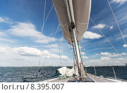 Купить «close up of sailboat mast or yacht sailing on sea», фото № 8395007, снято 13 июля 2014 г. (c) Syda Productions / Фотобанк Лори