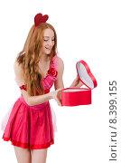 Купить «Pretty young model in mini pink dress holding gift box isolated on white», фото № 8399155, снято 28 декабря 2013 г. (c) Elnur / Фотобанк Лори