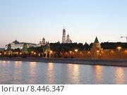 Купить «Вечерняя Москва, вид на набережную и Кремль», фото № 8446347, снято 26 июля 2015 г. (c) Владимир Журавлев / Фотобанк Лори