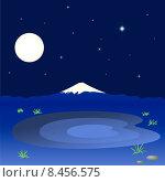 Горы и озеро на фоне ночного неба. Стоковая иллюстрация, иллюстратор Bellastera / Фотобанк Лори