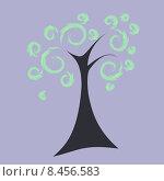 Дерево с вьющейся листвой. Стоковая иллюстрация, иллюстратор Bellastera / Фотобанк Лори