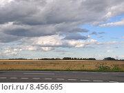 Купить «Дорога, поле, небо», эксклюзивное фото № 8456695, снято 20 июля 2015 г. (c) Дмитрий Абушкин / Фотобанк Лори