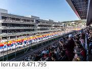Российский триколор. Торжественное открытие Гран-при России Формула 1 (2014 год). Редакционное фото, фотограф Andrey Michurin / Фотобанк Лори
