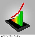 Объёмный график на экране смартфона. Стоковая иллюстрация, иллюстратор Владимир Хапаев / Фотобанк Лори