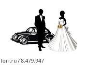 Свадьба. Жених и невеста возле автомобиля. Стоковая иллюстрация, иллюстратор Мярц Алиса / Фотобанк Лори