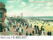 Купить «Открытка начала 20 века с набережной Атлантик-Сити (Boardwalk and Beach. Atlantic City, N.J.)», иллюстрация № 8480607 (c) Дмитрий Савостин / Фотобанк Лори