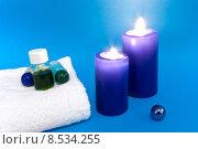 Купить «well being towel candle ethereal», фото № 8534255, снято 24 января 2019 г. (c) PantherMedia / Фотобанк Лори