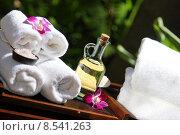 Купить «towel massage implements green healthy», фото № 8541263, снято 20 января 2019 г. (c) PantherMedia / Фотобанк Лори