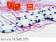 Купить «money euro gambling chips bank», фото № 8545375, снято 24 июня 2019 г. (c) PantherMedia / Фотобанк Лори