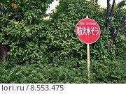 """Знак """"пожарная цистерна"""" в японском саду (2014 год). Стоковое фото, фотограф Evgeniya Kuznetsova / Фотобанк Лори"""